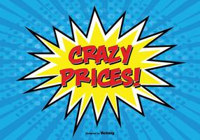Comic Style Promotional '' Crazy Prices '' Illustration