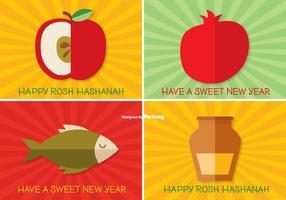 Rosh Hashanah Etikett Set vektor