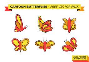 Tecknade fjärilar gratis vektor pack
