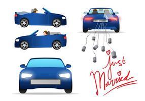 Gerade verheiratetes Auto-Vektor