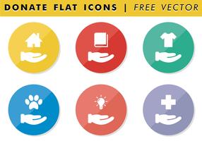 Spenden Sie flache Icons Free Vector