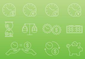 Tid är pengar ikoner vektor