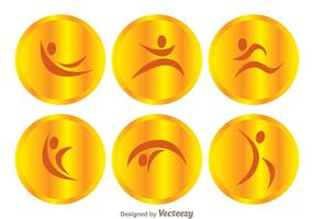 Vektor Guld Gymnastik Ikoner