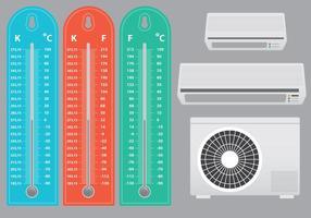 Klimaanlage mit Thermometer-Vektoren
