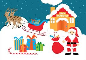 Santas Workshop Vector Bakgrund