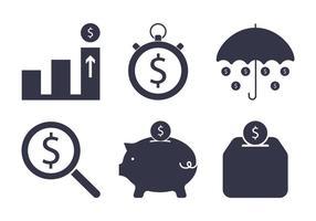 Tiden är pengar svart ikon vektor