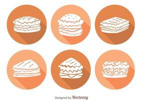 Sandwich Lange Schatten Icons vektor