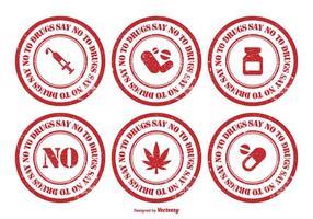Nein zum Drogen-Stempel-Satz vektor