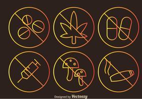 Keine Drogen Umrisse Zeichen Icons