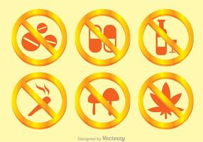 Kein Drogen Goldenes Zeichen vektor