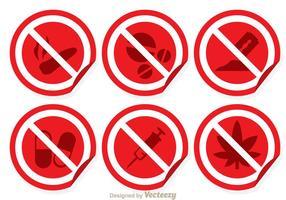 Röda och vita inga drogsignaler vektor