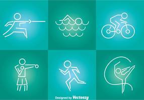 Sport Tin Linie Icons vektor