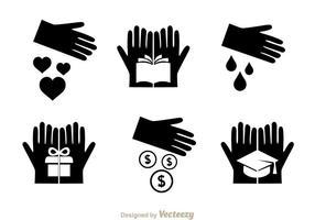 Vektor donera svarta ikoner