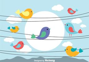 Vogel auf einem Draht Vektoren