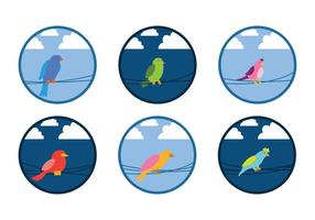 Fågel på trådvektor vektor