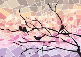 Fågel på trädgren Abstrakt