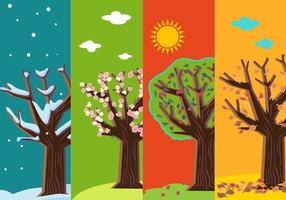 Vier Jahreszeiten Abstrakte Bäume vektor