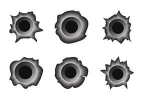 Free Bullet Hole Metall Vektor Set