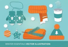 Vinter Tillbehör Vektor Illustration