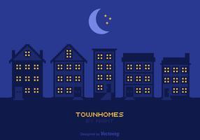 Fria townhomes vid nattvektor vektor