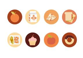 Schule Mittagessen Icons Free Vector