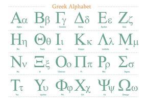 Grön grekisk alfabetvektorpaket