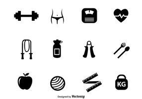Diet svarta ikoner vektor