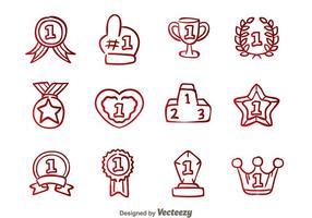 Erster Platzabzeichen Hand Draw Icons vektor