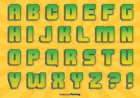 Komisk stil alfabet set vektor