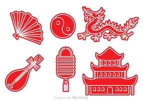 Kinesisk kultur röda ikoner vektor