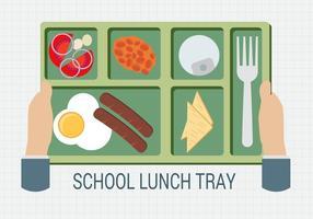 Free Hand Holding Eine Schule Lunch Tray Vektor