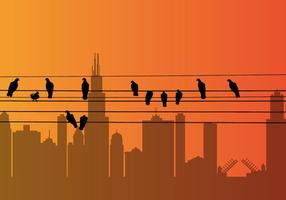 Vektor fågel på en tråd