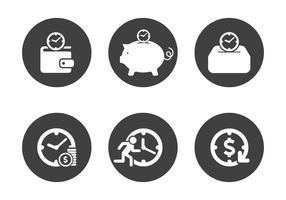 Vektor tid är pengar ikonuppsättning