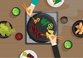 Vector Galbi koreansk mat