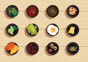 Free Vector Illustration Satz von koreanischen Essen