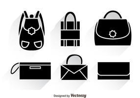 Tasche Schwarze Ikonen mit Schatten vektor