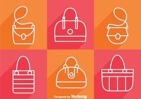 Väska långa skugg ikoner