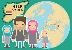 Hjälp Syria Flyktingvektor vektor