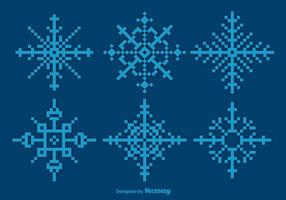 Pixeles blaue Schneeflocken vektor