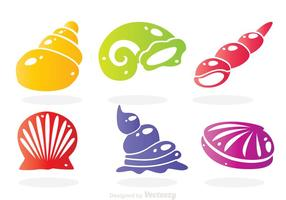 Havsskal färger ikoner vektor