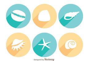 Starfish und Shell Long Shadow Icons