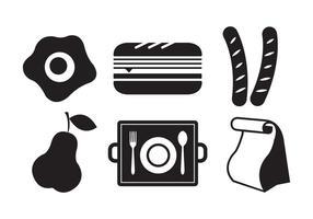 Vektor-Illustration von Symbolen der Schule Mittagessen