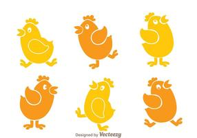 Hühnchen Cartoon Icons vektor