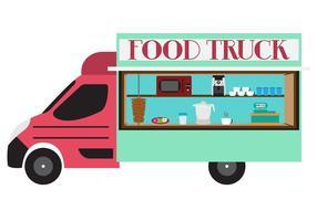 Illustration av mat lastbil i vektor