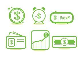 Tid är pengar ikonuppsättning vektor