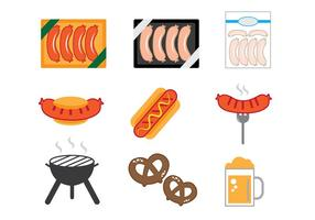 Bratwurst-ikoner vektor