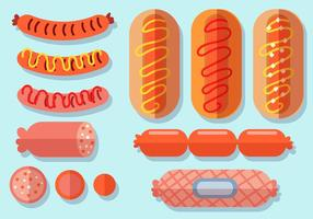 Flache Bratwurst Icon Set