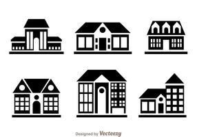 Townhomes schwarze Ikonen vektor