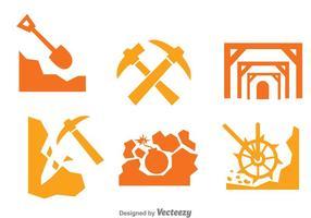 Bergbau Arbeiter Icons Set vektor