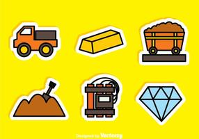 Gold- und Diamant-Bergwerk-Aufkleber-Ikonen